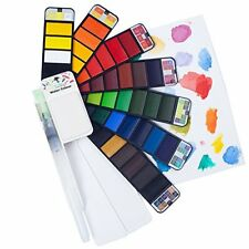 Fuumuui 42 Assorted Watercolour Paint Set Travel Pocket Field Sketch Kit with Wa
