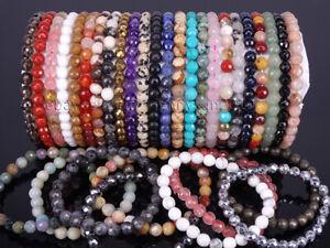 Handmade 6mm Natural Gemstone Faceted Round Beads Stretchy Bracelet Reiki Chakra