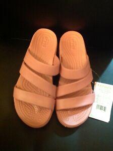 New Crocs Monterey  slip on strappy  wedge heel  pink sandals straps size 6