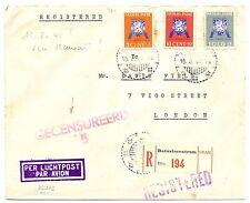 NED INDIE DUTCH INDIES 1941-8-15 CENSOR FLIGHT CV VIA  HAWAI TO LONDON !!! F/VF
