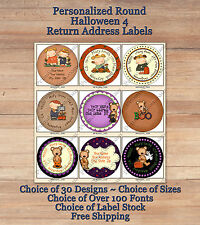 Colourful Whimsical Custom HALLOWEEN FALL ROUND Address Labels 4 Kids Crows Mugs