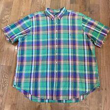 Men's Ralph Lauren Button Shirt Green Purple Yellow Plaid Classic Fit 4XLT Tall
