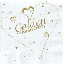 18 x Golden Wedding Napkins 50th Anniversary Napkins FREE P&P
