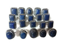 Bulk Price Lot !! 100Pcs. Blue LAPIS LAZULI 925 Sterling Silver Plated Ring