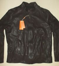 New Mens HUGO BOSS Orange Jofynn Leather Jacket Dark Brown Biker Jacket Size 46R