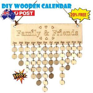 DIY Wooden Birthday Reminder Board Plaque Sign Friends&Family Creative Calendar