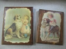 St. Bernard Dog Collectible Decoupage Wall Plaques - set of 2