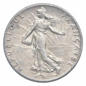 SILVER Roughly the Size of a Dime 1918 France 50 Centimes World Silver Coin *627