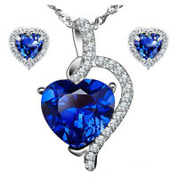 Sterling Silver Heart AAA Created Blue Sapphire Pendant Necklace & Earring Set