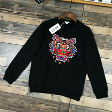New Men's Women's Kenzo Paris Black Sweatshirts Tiger Embroidered Crew Jumpers