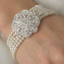5 row Bridal Classic Swirled Clear Crystal & Whitest White Pearl Bracelet
