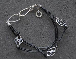 "SILPADA - B2476 - Leather & Strlng Slvr ""Leather Charm"" Bracelet - RET"