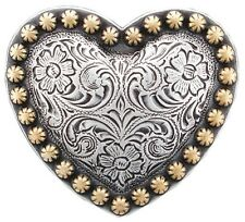 """Western Equestrian Tack Set of 6 Gold Berry Border 1 1/2"""" Heart Concho's"""