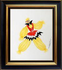 ERTE Original Gouache Painting Signed Artwork Deco Dress Costume Design Framed
