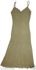 SELIA YANG Bead GOLD SILK cocktail metallic Sheath evening dress PARTY $585 S 2