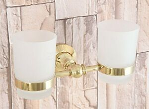 Gold Color Brass Wall Mount Bathroom Toothbrush Holders Double Glass Cups Zba317