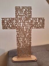 More details for lords prayer cross, wooden, religious, christian gift,our father,