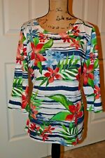 Palm Grove Tunic Top in Bold Colors with Beaded Neckline - 1X