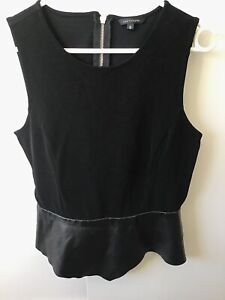 black party top sleeveless ribbed detail back zip  faux leather detail PORTMANS