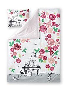 Moomin Sateen Duvet Cover Pillowcase Moominmamma Rose Garden 150 x 210 cm