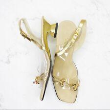 Onex Gold Square Toe Block Heel