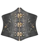 Punk Rave Steampunk Cincher Corset Belt Black Copper Faux Leather Gothic Waspie