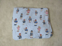VINTAGE Ralph Lauren Polo Bear Fitted Sheet Twin Size Blue White Bedding Bed