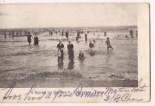 Sunset On The Beach Wool Swimsuit Bathing Cap Girls Boys Vintage 1907 Postcard