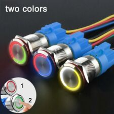 Two Color Push Button Switch Led Waterproof Momentary Latching 19mm 22mm