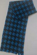 "BLUE AND BLACK HOUNDSTOOTH HANDMADE FLEECE SCARF - PLUSH - SOFT - 8"" X 60"""