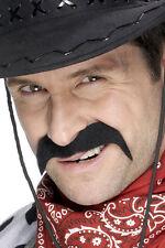 Klassischer Cowboy Schnurrbart schwarz NEU - Karneval Fasching Bart Verkleidung