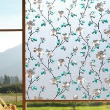 3D Floral Static Window Films Frosted Cling Glass Stickers Privacy No Glue Retro