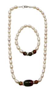 Satz Armband & Halskette Kurz Perlen Wasser Perlmutt Weiß + Steine Farb-