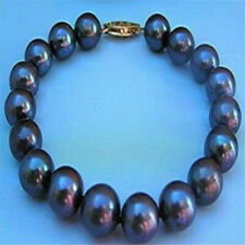 "10-11MM SOUTH SEA BLACK PEARL BRACELET 7.5"" 14K GOLD jewelry fashion natural"