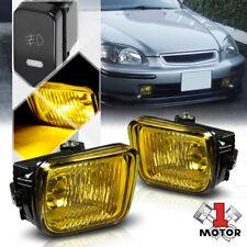 Golden Yellow Lens Fog Light Bumper Lamps w/Switch+Harness for 96-98 Honda Civic