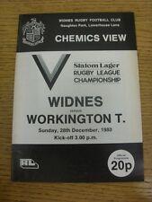 28/12/1980 programma Rugby League: Widnes V workington Town (contrassegnato EDGE). COND