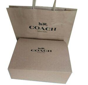 """New 1 Coach Logo Brown Gift box 14""""x14""""x 5.5 for Medium  Bags +1 Coach Paper bag"""
