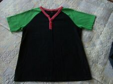 T Shirt, Next age 8 V Neck Black, Green, Pink Button Front