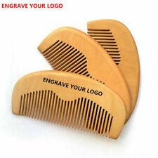 100pcs/lot Peach Wood Fine Tooth Moon Beard Care Combs Wooden Comb Custom LOGO