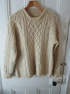 "Vintage 2XL 48"" Chunky Cream Aran Knit Jumper Sweater Hand Made Scottish Fair..."