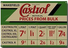 CASTROL MOTOR OIL PRICES FROM BULK  METAL SIGN,RETRO,GARAGE,OIL A3 SIZE