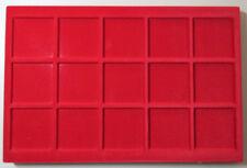 VASSOIO 15 CASELLE 57x57 mm per Monete Medaglie in Floccato rosso MASTERPHIL