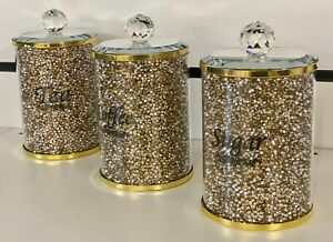 3XCrushed Diamond Gold Crystal Filled Tea Coffee Sugar Canisters Jars Storage