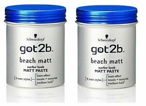 Schwarzkopf got2b Beach Matt Paste Surfer Look Matt Effect, 100ml (Pack of 2)