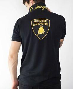 Lamborghini Automobili Polo Shirt For Men 100% Mesh Cotton - Black