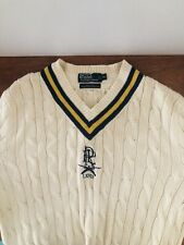 polo ralph lauren sweater Mens XL Cricket Style Cable Knit Navy Blue/yellow Trim