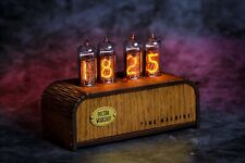 Nixie Tube Clock IN-14 Retro Vintage steampunk. Oak enclosure