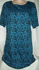 Short sleeve Teal black ponte Jacquard Winter dress + zip details NEW size 20