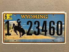 WYOMING LICENSE PLATE BUCKING BRONCO LAKE- MOUNTAINS 🏔 RANDOM LETTERS/NUMBERS