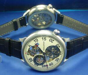 MOLNIYA Vintage USSR Pocket Watch Open Heart Mechanical Skeleton Handmade 3602